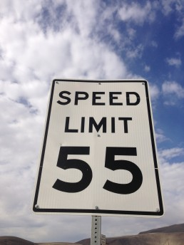 55 Mile per hour sign