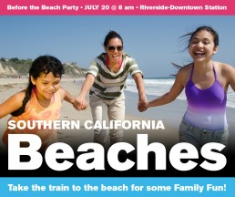 Southern California Beaches add with people playing on the sand